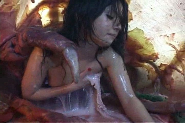 Sexy asian girl tasting tentacle cum juice after cumshot on her hairy pussy inside horny monster