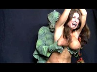 Lizard Monster Attacks Busty Brunette