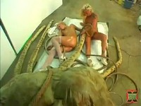 Blonde Babes Analized By Tentacle Monster