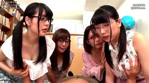 POV Researching Sex Ed Class With Four Cute Japanese Babes