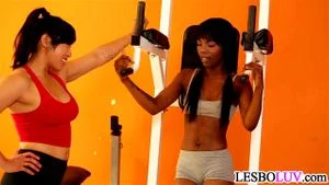 Asian And Ebony Sexy Workout