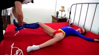 Superheroine Chained Spread Eagle On Bed