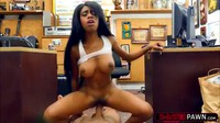 Busty Black Babe Pawns Her Pussy