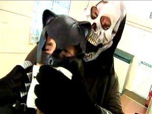 Skull Face Punishes Sexy Cat Burglar