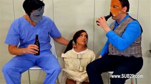 Cute Brunette Violated By Masked Men