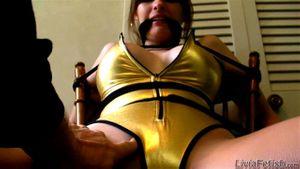Golden Leotard Livia Tied Up