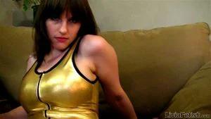 Golden Leotard Strip And Tease